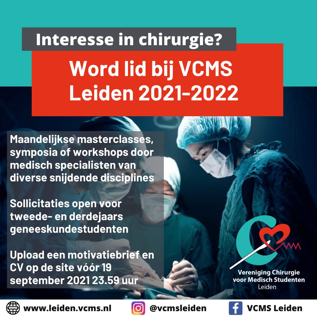 Sollicitaties geopend lidmaatschap VCMS Leiden 2021-2022